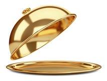 Χρυσό εστιατόριο cloche με το ανοικτό καπάκι διανυσματική απεικόνιση