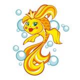 χρυσό λευκό απομόνωσης ψαριών επίσης corel σύρετε το διάνυσμα απεικόνισης Στοκ φωτογραφία με δικαίωμα ελεύθερης χρήσης