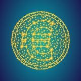 Χρυσό ευρο- σημάδι εικονιδίων χρημάτων στο polygonal χαμηλό πολυ υπόβαθρο  στοκ φωτογραφίες με δικαίωμα ελεύθερης χρήσης
