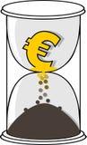 Χρυσό ευρο- σύμβολο νομίσματος στην άσπρη κλεψύδρα απεικόνιση αποθεμάτων
