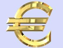 Χρυσό ευρο- σύμβολο σε τρισδιάστατο στοκ εικόνες