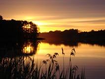 Χρυσό ηλιοβασίλεμα στη λίμνη Στοκ εικόνες με δικαίωμα ελεύθερης χρήσης