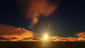 Χρυσό ηλιοβασίλεμα σε έναν τομέα ελεύθερη απεικόνιση δικαιώματος