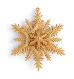 Χρυσό διακοσμητικό snowflake Χριστουγέννων Στοκ Εικόνες
