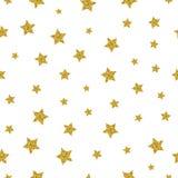 Χρυσό διανυσματικό άνευ ραφής σχέδιο αστεριών διανυσματική απεικόνιση