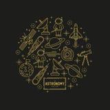 Χρυσό διανυσματικό σύνολο εικονιδίων αστρονομίας Στοκ Εικόνα