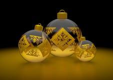 χρυσό διαστημικό κείμενο Χριστουγέννων σφαιρών ανασκόπησής σας Στοκ Εικόνες