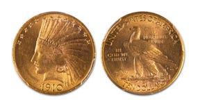 Χρυσό ινδικό επικεφαλής νόμισμα δέκα δολαρίων Στοκ εικόνα με δικαίωμα ελεύθερης χρήσης