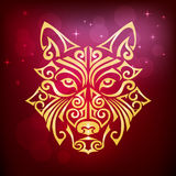 Χρυσό κίτρινο σκυλί ` s ή κεφάλι λύκων ` s ελεύθερη απεικόνιση δικαιώματος