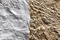 Χρυσό και ασημένιο φύλλο αλουμινίου ως υπόβαθρο Στοκ Εικόνες