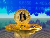 Χρυσό και ασημένιο bitcoin στο μπλε αφηρημένο υπόβαθρο χρηματοδότησης Cryptocurrency Bitcoin Στοκ φωτογραφίες με δικαίωμα ελεύθερης χρήσης