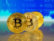 Χρυσό και ασημένιο bitcoin στο μπλε αφηρημένο υπόβαθρο χρηματοδότησης Cryptocurrency Bitcoin Στοκ Φωτογραφία