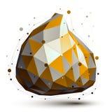 Χρυσό και γκρίζο τρισδιάστατο διανυσματικό αφηρημένο αντικείμενο σχεδίου Στοκ εικόνες με δικαίωμα ελεύθερης χρήσης