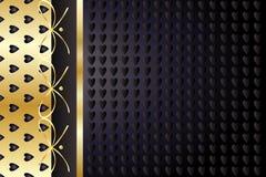Χρυσό και μαύρο εκλεκτής ποιότητας υπόβαθρο καρδιών Στοκ εικόνα με δικαίωμα ελεύθερης χρήσης