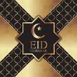 Χρυσό και μαύρο υπόβαθρο για Eid Μουμπάρακ Στοκ Φωτογραφία