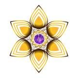 Χρυσό και πορφυρό διαμάντι μορφής λουλουδιών κοσμήματος Στοκ Εικόνες