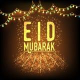 Χρυσό κείμενο για τον εορτασμό Eid Μουμπάρακ Στοκ Φωτογραφία