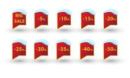 Χρυσό κείμενο ορθογωνίων χειμερινής πώλησης lables Στοκ φωτογραφίες με δικαίωμα ελεύθερης χρήσης