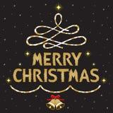 Χρυσό κείμενο Χαρούμενα Χριστούγεννας που διακοσμεί στο μαύρο υπόβαθρο απεικόνιση αποθεμάτων