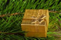 Χρυσό κιβώτιο δώρων στοκ φωτογραφίες