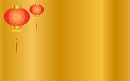 Χρυσό κινεζικό υπόβαθρο φαναριών Στοκ Φωτογραφίες