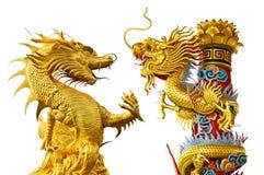 Χρυσό κινεζικό ύφος δράκων στοκ φωτογραφίες