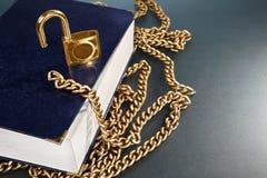 χρυσό κλείδωμα αλυσίδων βιβλίων Στοκ Φωτογραφίες