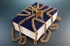 χρυσό κλείδωμα αλυσίδων βιβλίων Στοκ φωτογραφίες με δικαίωμα ελεύθερης χρήσης