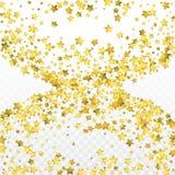 Χρυσό κομφετί αστεριών η ανασκόπηση γιορτάζει Χρυσά σπινθηρίσματα και σημεία στο μαύρο σκηνικό απεικόνιση αποθεμάτων