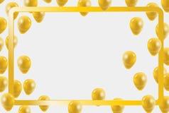 Χρυσό κομφετί μπαλονιών κομμάτων εορτασμού για την πρόσκληση κομμάτων Στοκ φωτογραφία με δικαίωμα ελεύθερης χρήσης