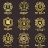 Χρυσό κομψό μονόγραμμα Σχέδιο προτύπων για το μονόγραμμα, ετικέτα, λογότυπο, έμβλημα Στοκ φωτογραφία με δικαίωμα ελεύθερης χρήσης