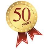 χρυσό κουμπί ιωβηλαίου - 50 έτη στοκ εικόνα