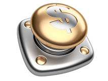 Χρυσό κουμπί με το σημάδι δολαρίων Επιχειρησιακή έννοια ξεκινήματος στοκ φωτογραφία με δικαίωμα ελεύθερης χρήσης
