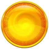 Χρυσό κουμπί με το σχέδιο Στοκ Φωτογραφίες