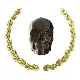 Χρυσό κρανίο που περιβάλλεται με τα φύλλα δαφνών goldel που απομονώνονται στη μαύρη απόδοση υποβάθρου Στοκ εικόνες με δικαίωμα ελεύθερης χρήσης