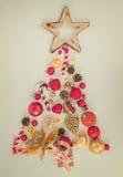 χρυσό κόκκινο δέντρο Χριστ Στοκ Εικόνες