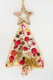 χρυσό κόκκινο δέντρο Χριστ Στοκ εικόνα με δικαίωμα ελεύθερης χρήσης