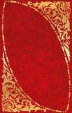 χρυσό κόκκινο δέρματος πλαισίων Στοκ Φωτογραφία