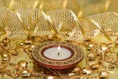 χρυσό κόκκινο κεριών Στοκ Φωτογραφίες