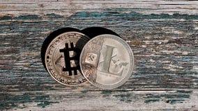 Χρυσό κόκκινο νόμισμα bitcoin Στοκ Φωτογραφίες