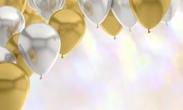 Χρυσό χρυσό κόμμα υποβάθρου γενεθλίων μπαλονιών στοκ εικόνα με δικαίωμα ελεύθερης χρήσης