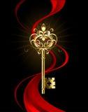 Χρυσό κλειδί με τη Fleur de Lis διανυσματική απεικόνιση