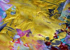 Χρυσό λαμπιρίζοντας ρόδινο μπλε λασπώδες αφηρημένο ζωηρόχρωμο υπόβαθρο watercolor, χρυσή σύσταση Στοκ εικόνα με δικαίωμα ελεύθερης χρήσης