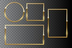 Χρυσό λαμπρό σύνολο πλαισίων που απομονώνεται στο σκοτεινό διαφανές υπόβαθρο το σχέδιο εύκολο επιμελείται τα στοιχεία στο διάνυσμ στοκ εικόνα με δικαίωμα ελεύθερης χρήσης
