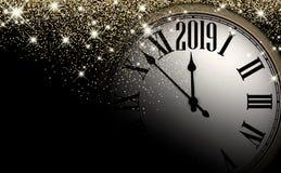 Χρυσό λαμπρό υπόβαθρο έτους του 2019 νέο με το ρολόι χαιρετισμός καλή χρονιά καρτών του 2007 απεικόνιση αποθεμάτων