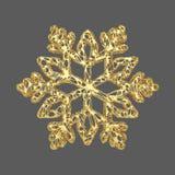 Χρυσό λεπτό snowflake που απομονώνεται στο γκρίζο υπόβαθρο Στοιχείο Χριστουγέννων στο χρυσό δικτυωτό ύφος τρισδιάστατος δώστε διανυσματική απεικόνιση