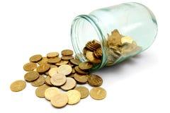 χρυσό λευκό γυαλιού νομισμάτων ανασκόπησης Στοκ Φωτογραφίες