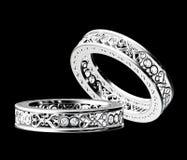 χρυσό λευκό δαχτυλιδιών & Στοκ Εικόνες