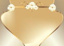 χρυσό λευκό λουλουδιών σχεδίου καμπυλών Στοκ Φωτογραφίες