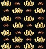 Χρυσό λωτού διανυσματικό εικονίδιο υποβάθρου λουλουδιών άνευ ραφής απεικόνιση αποθεμάτων